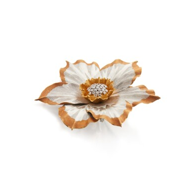 View 2. Thumbnail of Lot 168. Three-Color Gold and Diamond Clip-Brooch.