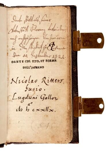 View 2. Thumbnail of Lot 101. Dante col sito, et forma dell'Inferno, [Venice, Paganino, c. 1516], miniature edition.