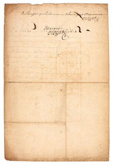 """View 2. Thumbnail of Lot 70. LOUIS XIV   document signed and inscribed (""""bon, Louis""""), about paying money to Antoine Crozat, 1704."""