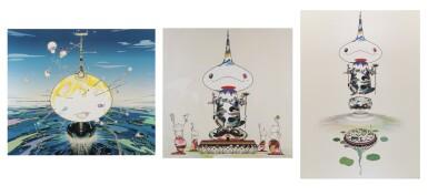 TAKASHI MURAKAMI   REVERSED DOUBLE HELIX; REVERSED DOUBLE HELIX MEGA POWER; AND MAMU CAME FROM THE SKY