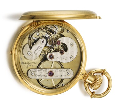 ALBERT H. POTTER & CO., GENEVA  [ Albert H. Potter & Co.,日內瓦] | A RARE GOLD HUNTING CASED KEYLESS POCKET CHRONOMETER  CIRCA 1885, NO. 85  [ 罕有黃金精密計時懷錶,年份約1885,編號85]