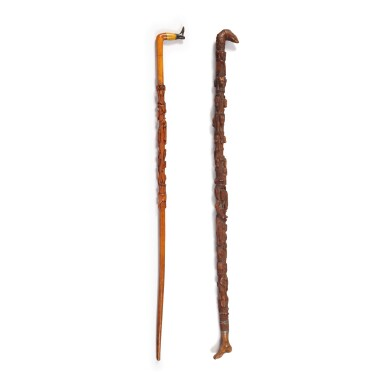 TWO VERY FINE CARVED WOOD WALKING STICKS, EARLY 20TH CENTURY