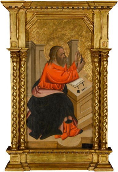 View 1. Thumbnail of Lot 58. CECCO DI PIETRO     AN EVANGELIST SHARPENING HIS QUILL.