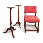 A CHARLES II PADOUK WOOD BACK STOOL, LATE 17TH CENTURY, TOGETHER WITH A CHINESE EXPORT PADOUK WOOD CANDLESTAND AND A GEORGE II MAHOGANY CANDLESTAND, BOTH 18TH CENTURY