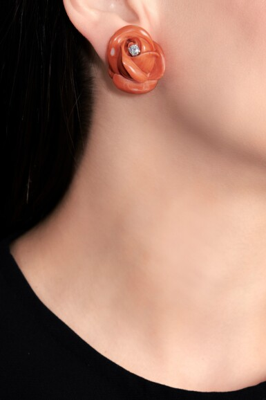 View 4. Thumbnail of Lot 70. Pair of coral and diamond ear clips, 1960s.