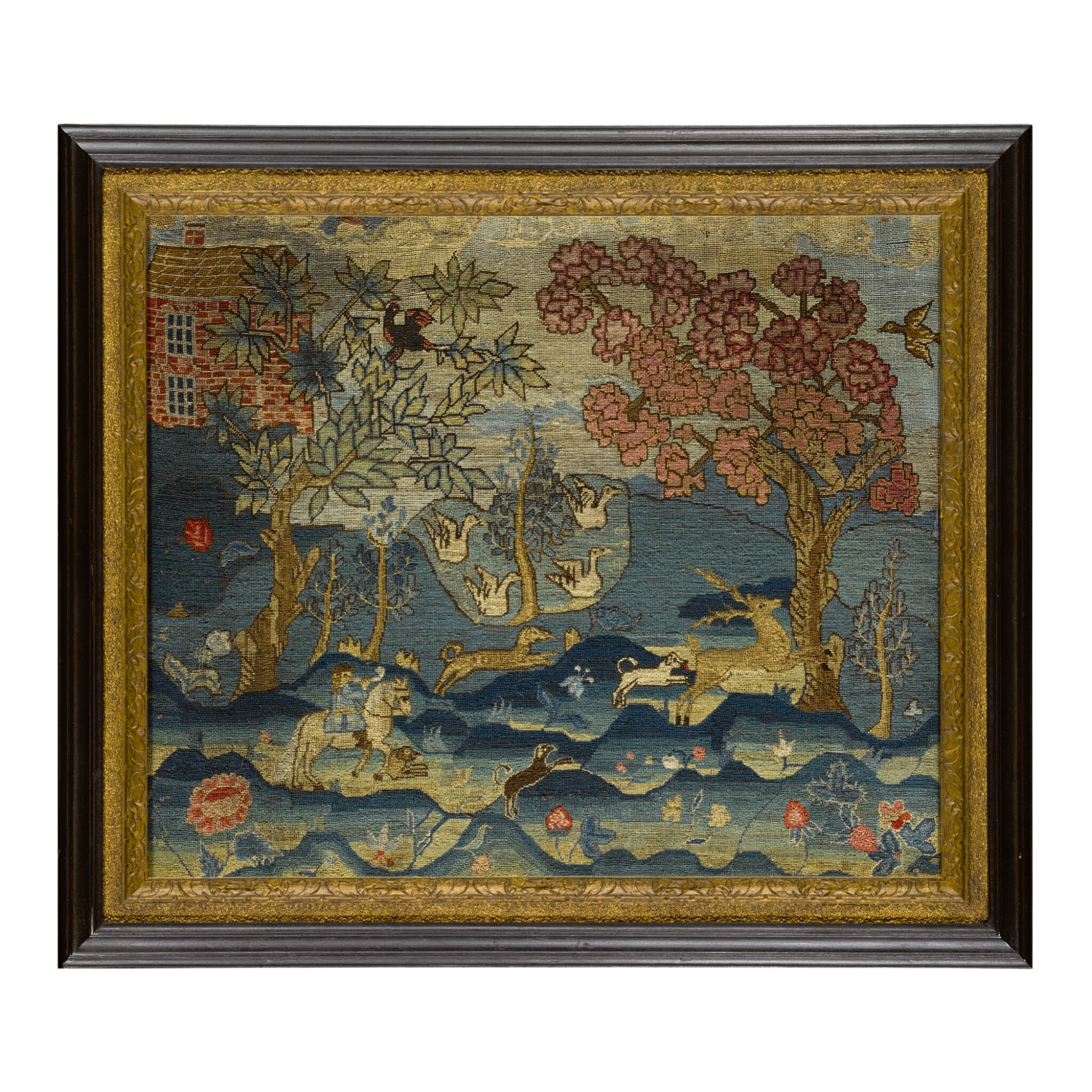 View full screen - View 1 of Lot 1624. RARE AND IMPORTANT CANVASWORK PICTURE: A HUNTING SCENE WITH DOGS, BOSTON, MASSACHUSETTS, CIRCA 1748.