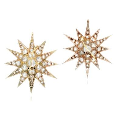 View 3. Thumbnail of Lot 89. Pair of diamond earrings/pendants, late 19th century.
