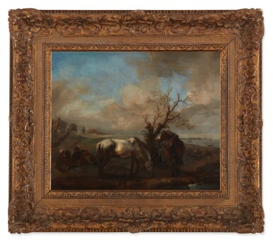 View 2. Thumbnail of Lot 2. PHILIPS WOUWERMAN     TWO HORSES RESTING BY A TREE AND A STREAM, WITH SEATED TRAVELERS NEARBY.