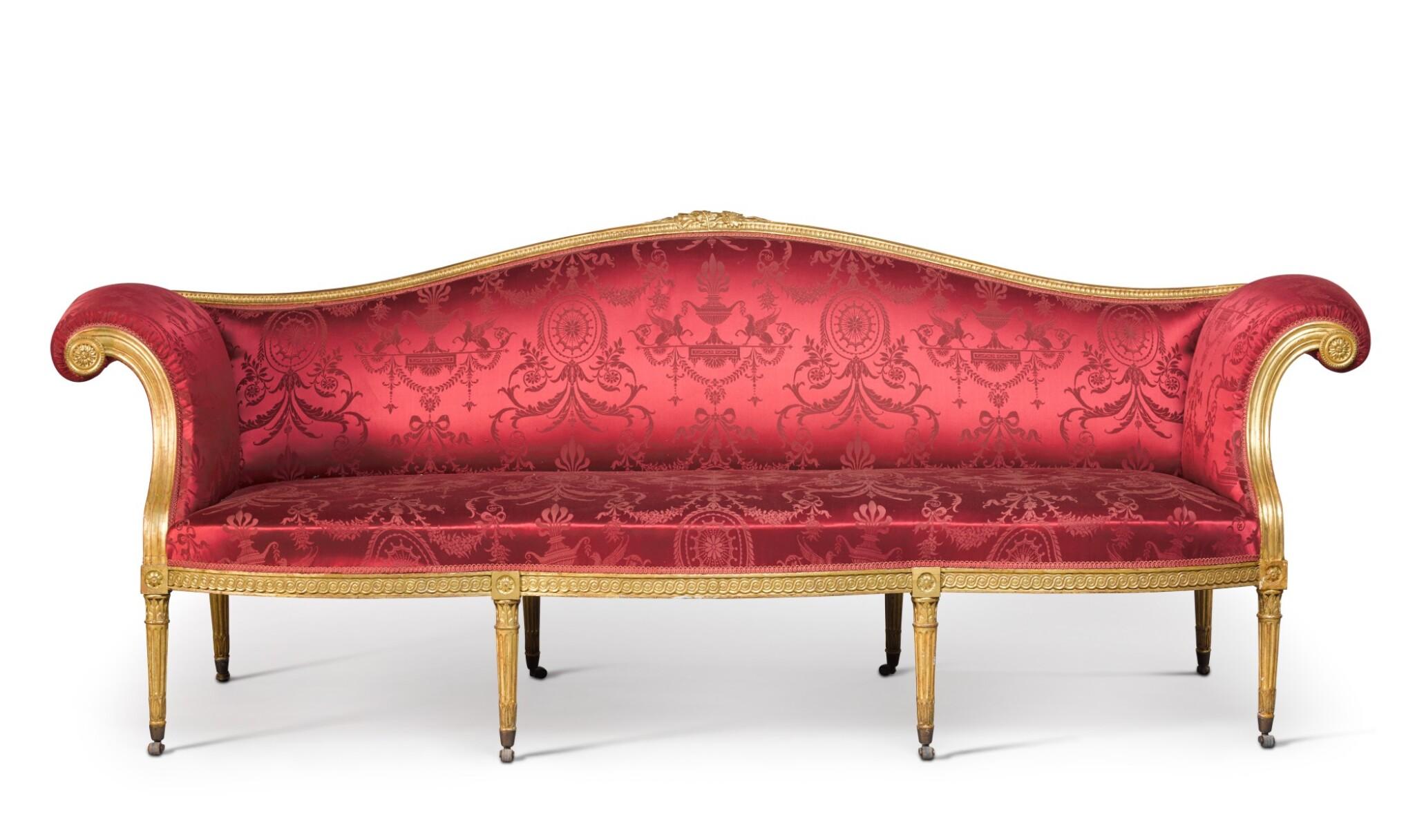 View full screen - View 1 of Lot 47. A George III giltwood sofa by B. Harmer, circa 1785.