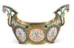 A silver-gilt and cloisonné enamel two-handled bowl, Orest Kurlyukov, Moscow, 1908-1917