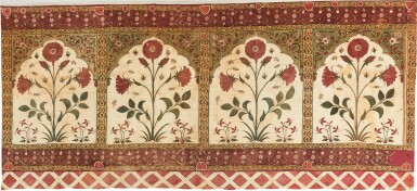 View 1. Thumbnail of Lot 143. A TENT (QANAT) PANEL WITH FOLIATE STEMS WITHIN NICHES, NORTH INDIA, 17TH CENTURY.