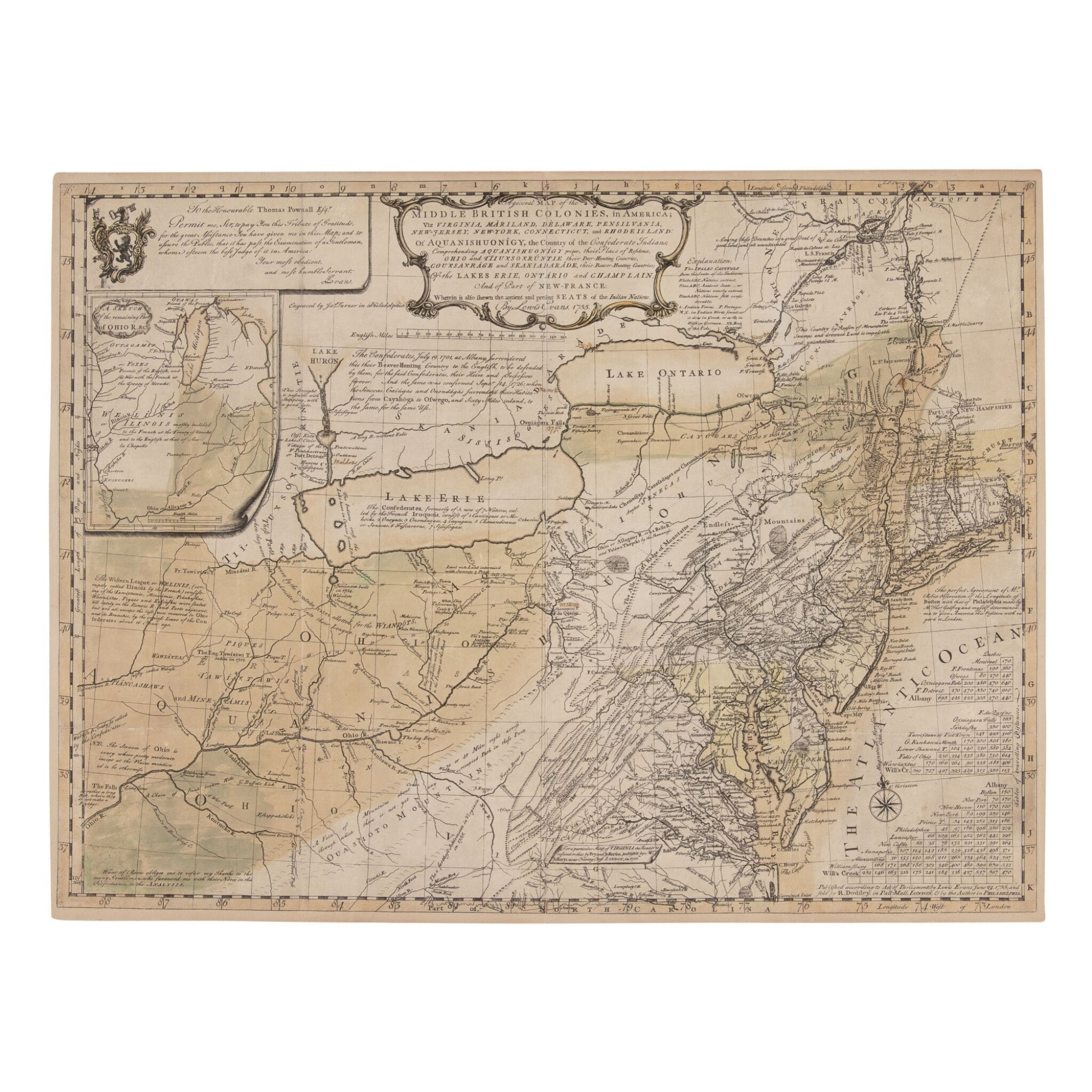 """View full screen - View 1 of Lot 155. Evans, Lewis   First issue of """"the most important map of the American colonies""""."""