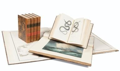 View 1. Thumbnail of Lot 215. LAPLACE. Voyage autour du monde de l'Inde et de Chine. 1833-1840. 7 volumes, dont 2 atlas et Zoologie..