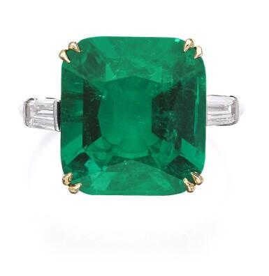 View 1. Thumbnail of Lot 137. Harry Winston   Emerald and diamond ring   海瑞溫斯頓   祖母綠配鑽石戒指.