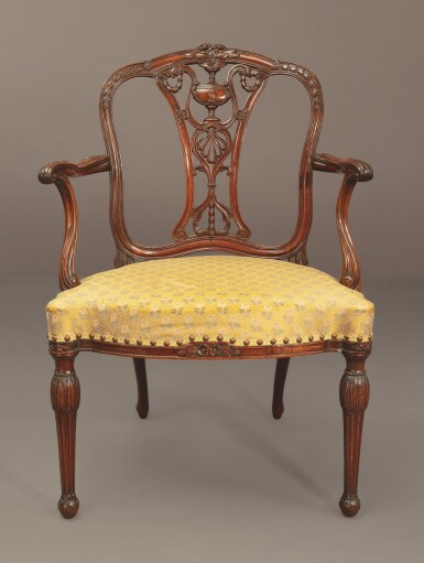 View 3. Thumbnail of Lot 602. A GEORGE III MAHOGANY OPEN ARMCHAIR ATTRIBUTED TO WILLIAM LINNELL, CIRCA 1775.