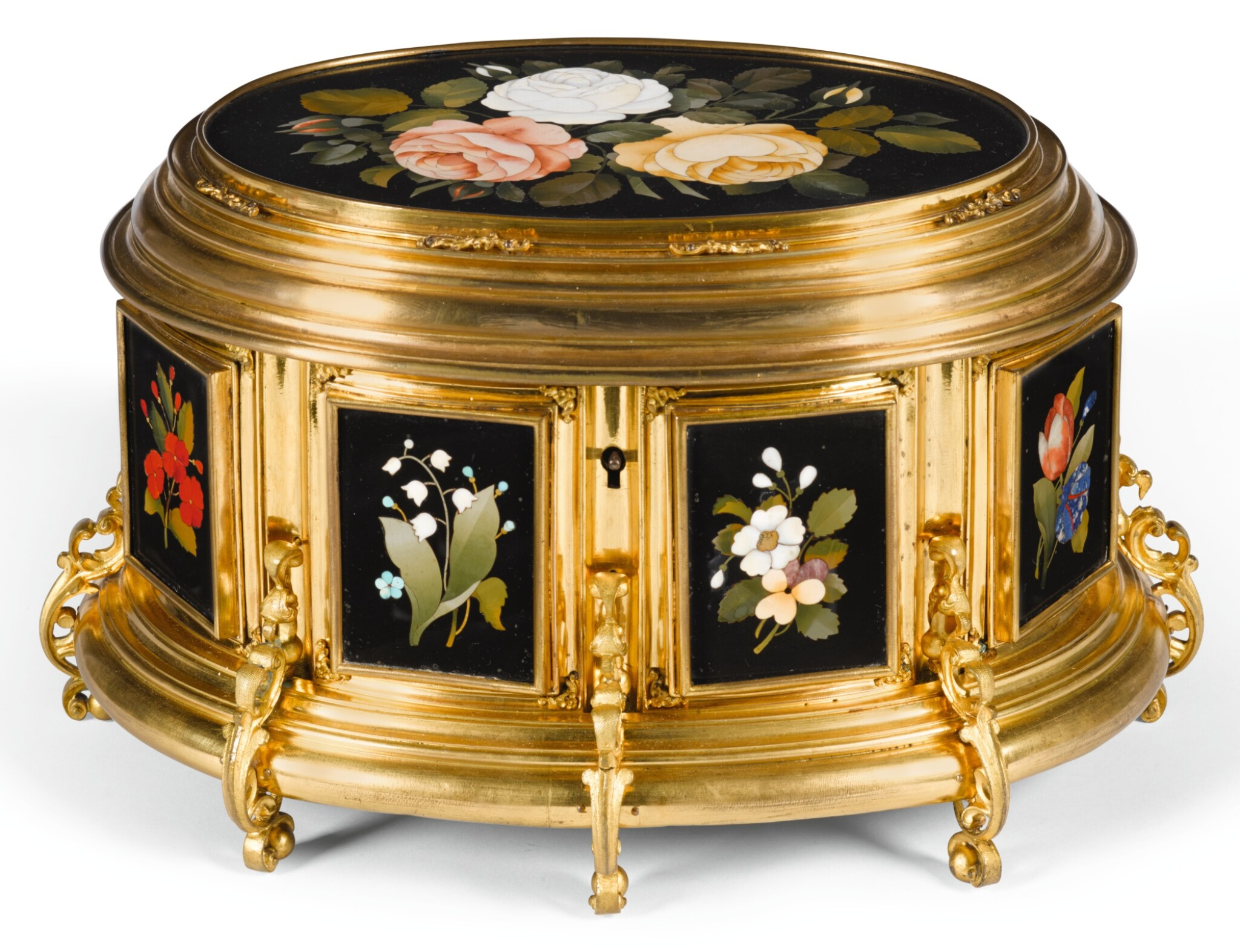 View 1 of Lot 7. AN ITALIAN PIETRE DURE AND TENERE GILT-BRASS CASKET FLORENCE, LATE 19TH CENTURY.