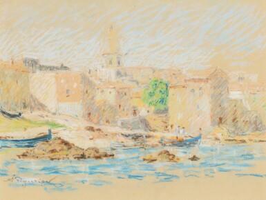 View 1. Thumbnail of Lot 27. AUGUSTE PÉGURIER | THREE VIEWS OF SAINT-TROPEZ: (I) LA PONCHE  (II) PORT ET VOILIERS  (III) LAURIER ROSE.