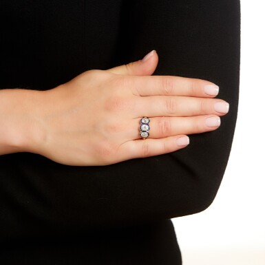 View 4. Thumbnail of Lot 43. Sapphire and diamond ring, circa 1915.