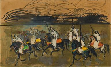 View 1. Thumbnail of Lot 65. HASSAN EL GLAOUI | BERBER HORSEMEN.