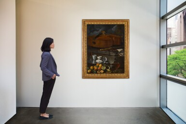 View 2. Thumbnail of Lot 54. CRISTOFORO MUNARI  |  STILL LIFE WITH PORCELAIN CUPS AND A FAÇON DE VENISE GLASS ON A SALVER, WITH A GLASS WINE EWER, PEELED LEMON AND APRICOTS, BEFORE A PLINTH WITH A VIOLONCELLO, RECORDER, AND MUSICAL SCORES.