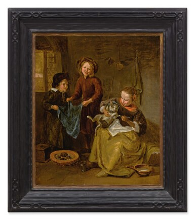 View 2. Thumbnail of Lot 6. FOLLOWER OF JAN STEEN | AN INTERIOR WITH THREE CHILDREN PLAYING WITH A CAT.