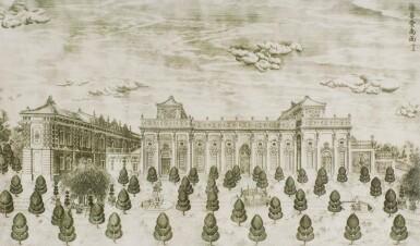 View 12. Thumbnail of Lot 362. A SET OF TWENTY PRINTS OF PALACES, PAVILIONS AND GARDENS AT YUANMING YUAN | 巴黎、1977年 《郎世寧圓明園西洋樓》 一組二十幅 水墨紙本.