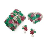 RUBY, EMERALD, CULTURED PEARL AND DIAMOND SUITE