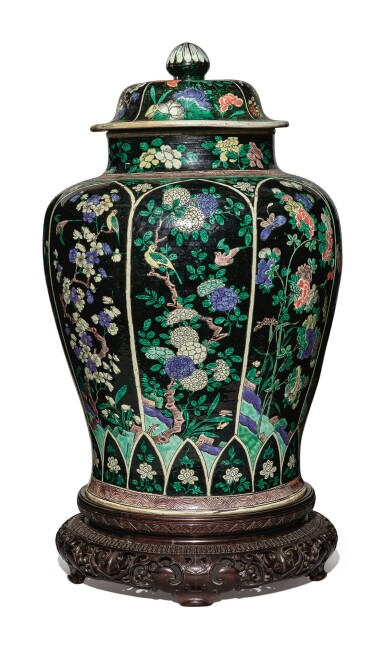 View 4. Thumbnail of Lot 1035. A LARGE FAMILLE-NOIRE 'BIRD AND FLOWER' BALUSTER JAR AND COVER, THE PORCELAIN 18TH CENTURY, THE ENAMELS LATER-ADDED.