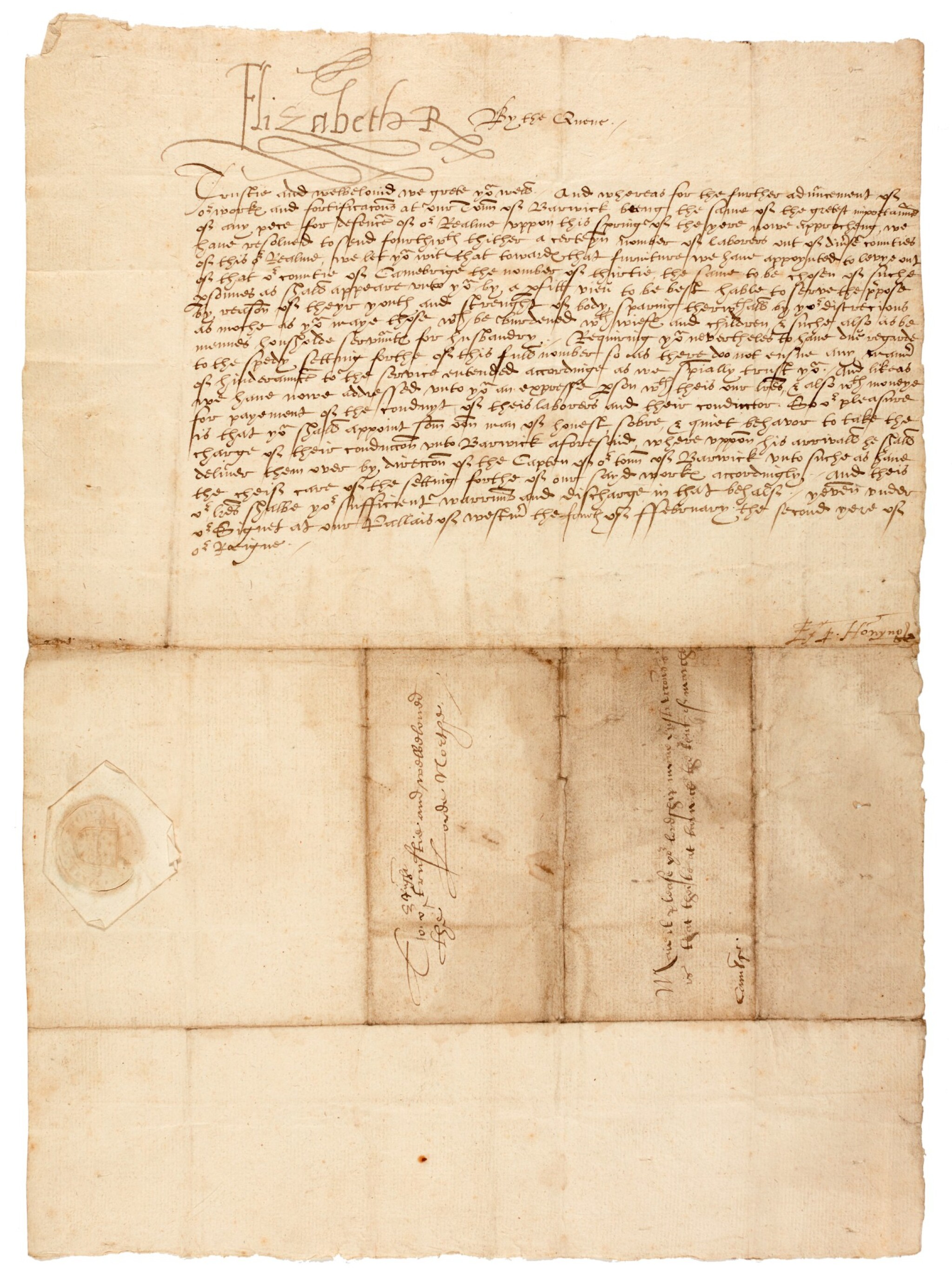 View full screen - View 1 of Lot 44. ELIZABETH I | early letter signed, to Edward North, First Baron North, 1560.