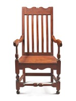 RARE WILLIAM AND MARY JOINED WALNUT BANISTER-BACK ARMCHAIR, PENNSYLVANIA, CIRCA 1730