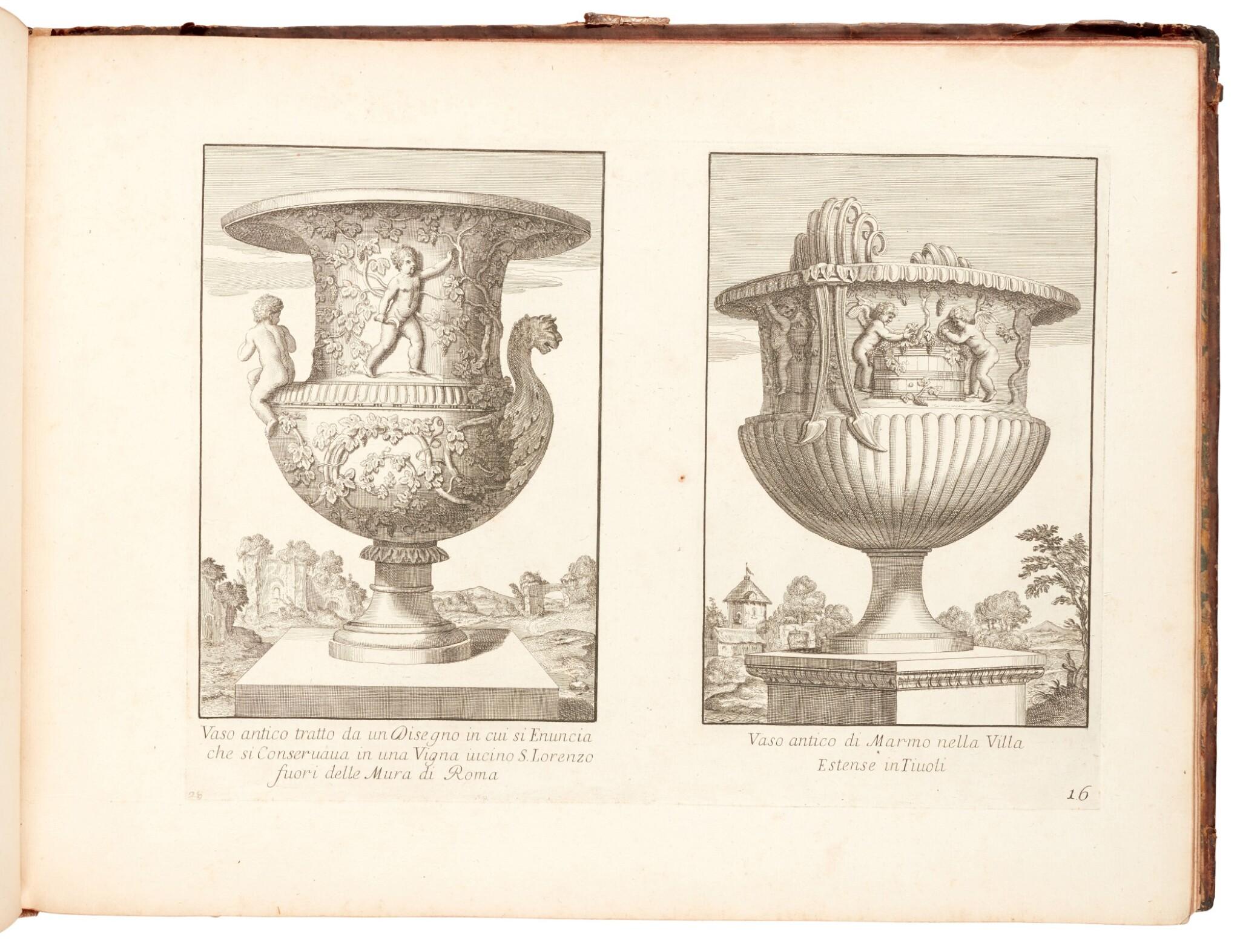 View full screen - View 1 of Lot 48. Aquila, Raccolta di vasi diversi, Rome, 1713, contemporary mottled calf.