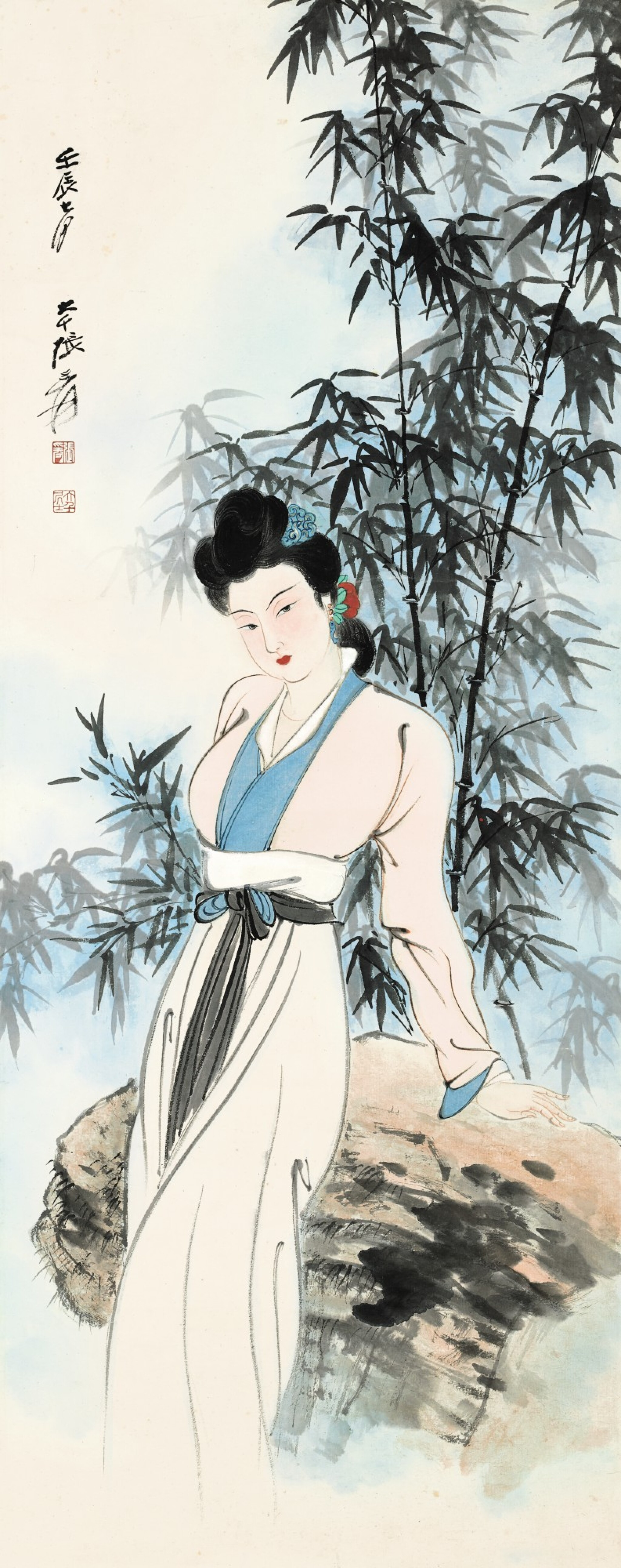 View full screen - View 1 of Lot 3115. ZHANG DAQIAN 張大千 | LADY BY THE BAMBOO GROVE 新篁仕女.