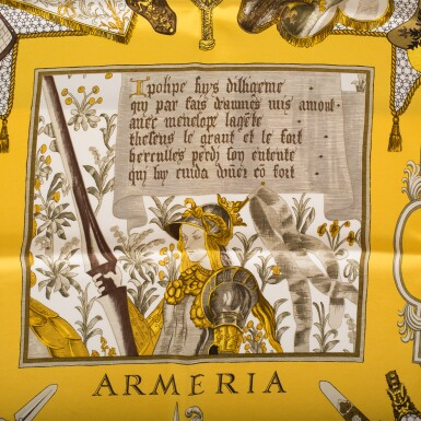 "View 3. Thumbnail of Lot 98. Hermès Set of Two Scarves:""La Danse du Cosmos"" Silk Twill Scarf 90cm and ""Armeria"" Silk Twill 90cm."