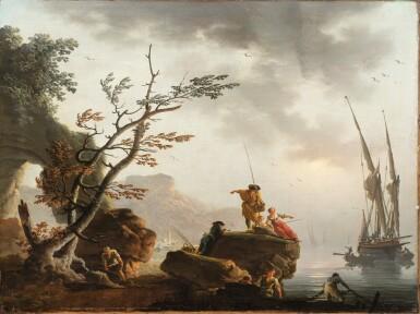 View 5. Thumbnail of Lot 47. Fishermen at Sunrise;  A Storm.