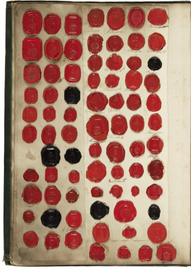 AN ENGLISH ALBUM COLLECTION OF WAX SEALS OF PROMINENT PERSONS, ORDERS, AND ORGANIZATIONS, 19TH CENTURY