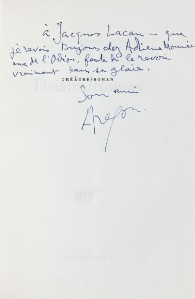 """Ens. de 8 ouvrages avec envois à Jacques Lacan, dont """"Blanche ou L'Oubli"""", 1967, sur grand papier"""