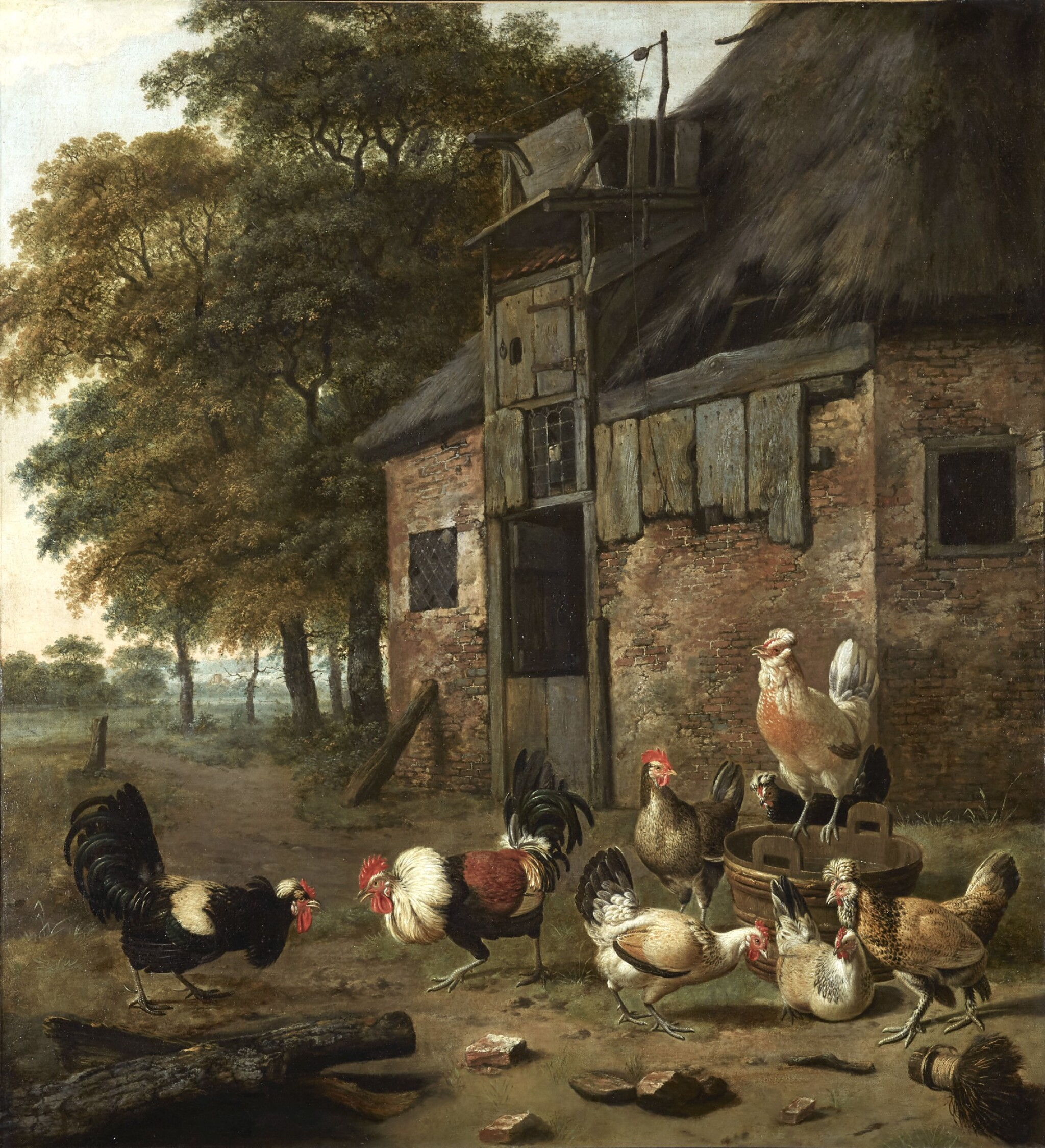 View 1 of Lot 268. DIRCK WIJNTRACK | POULTRY YARD WITH TWO COCKS FIGHTING.