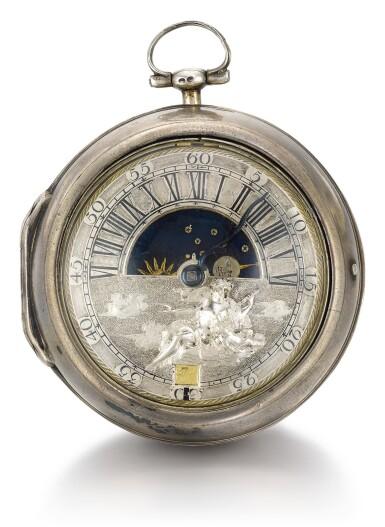 View 2. Thumbnail of Lot 4. N. NIEUWENHOF | A SILVER PAIR CASED SUN AND MOON VERGE WATCH WITH DATE CIRCA 1720 [ 銀製雙套殼日月懷錶備機軸式擒縱機芯及日期顯示,年份約1720].