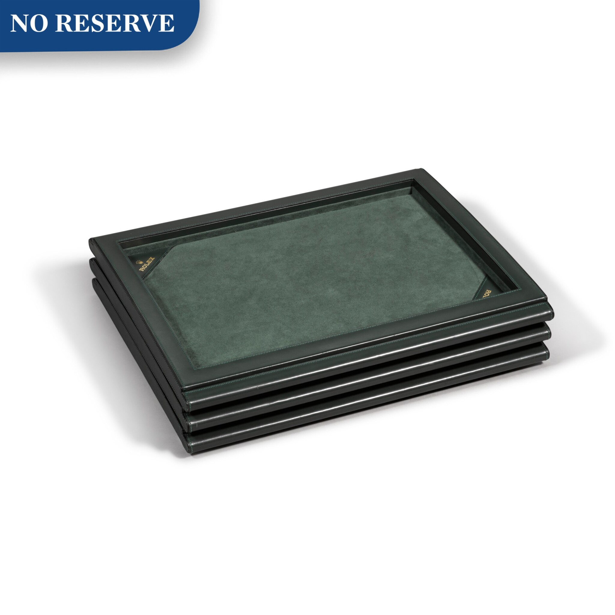 View full screen - View 1 of Lot 729. THREE GREEN LEATHER PRESENTATION TRAYS.