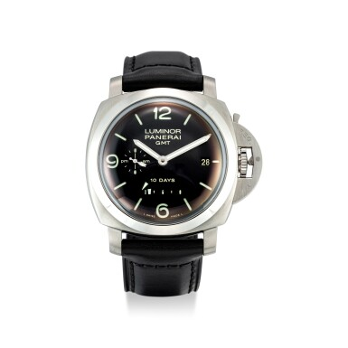 View 1. Thumbnail of Lot 355. PANERAI   LUMINOR, REFERENCE 270 A STAINLESS STEEL DUAL TIME ZONE WRISTWATCH WITH DATE, DAY AND NIGHT AND POWER RESERVE INDICATION, CIRCA 2008.