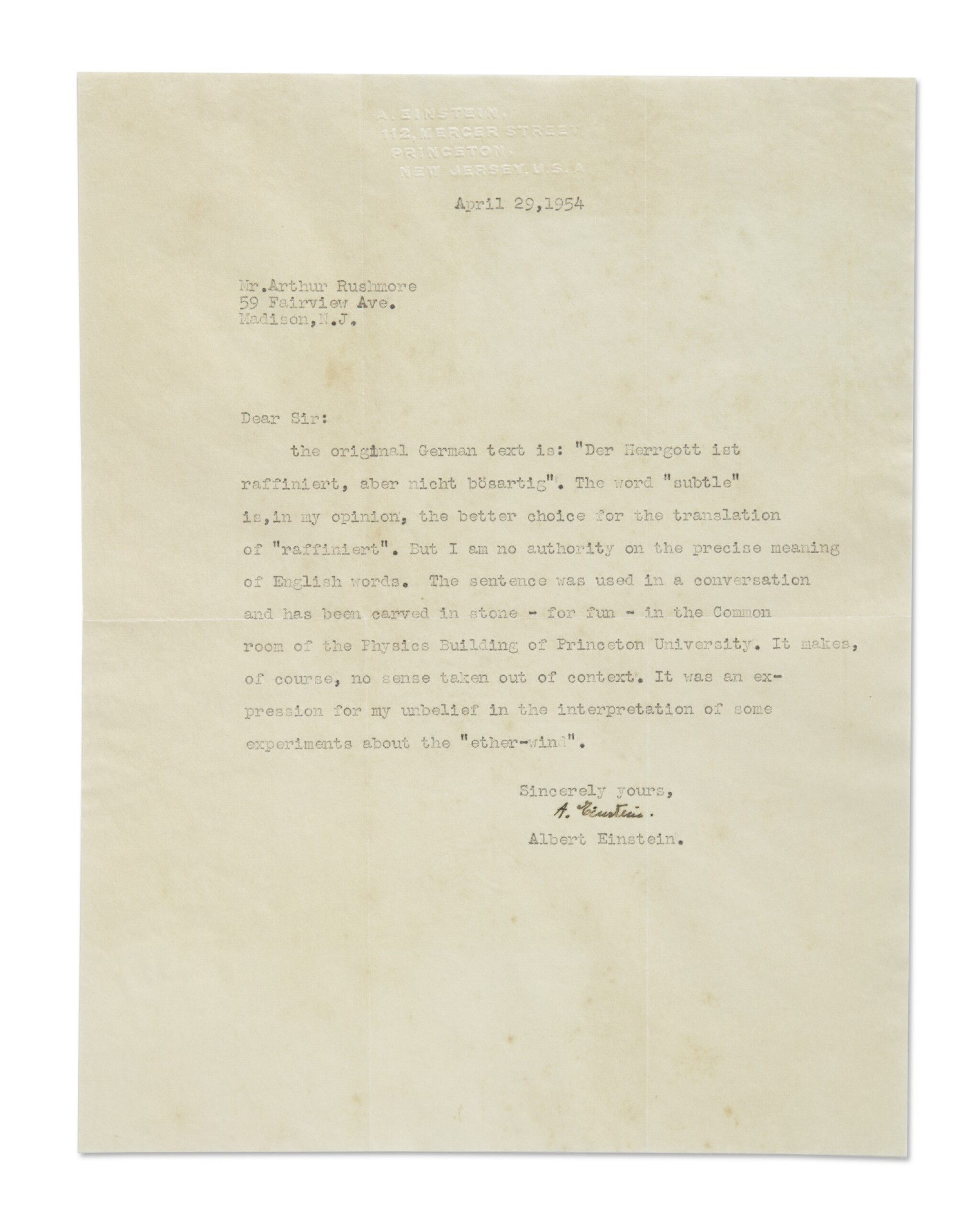 """View full screen - View 1 of Lot 18. EINSTEIN, ALBERT 