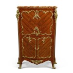A LOUIS XV STYLE GILT-BRONZE MOUNTED MAHOGANY, ROSEWOOD MARQUETRY SECRÉTAIRE À ABATTANT, CIRCA 1890