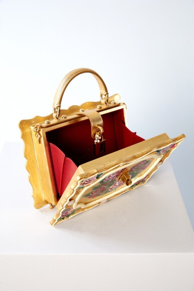 View 8. Thumbnail of Lot 43. Enamel Flower Embellished Limited Edition Box Bag in Golden Hand-Painted Wood with Vintage Plated Brass Hardware, Spring/Summer 2021.
