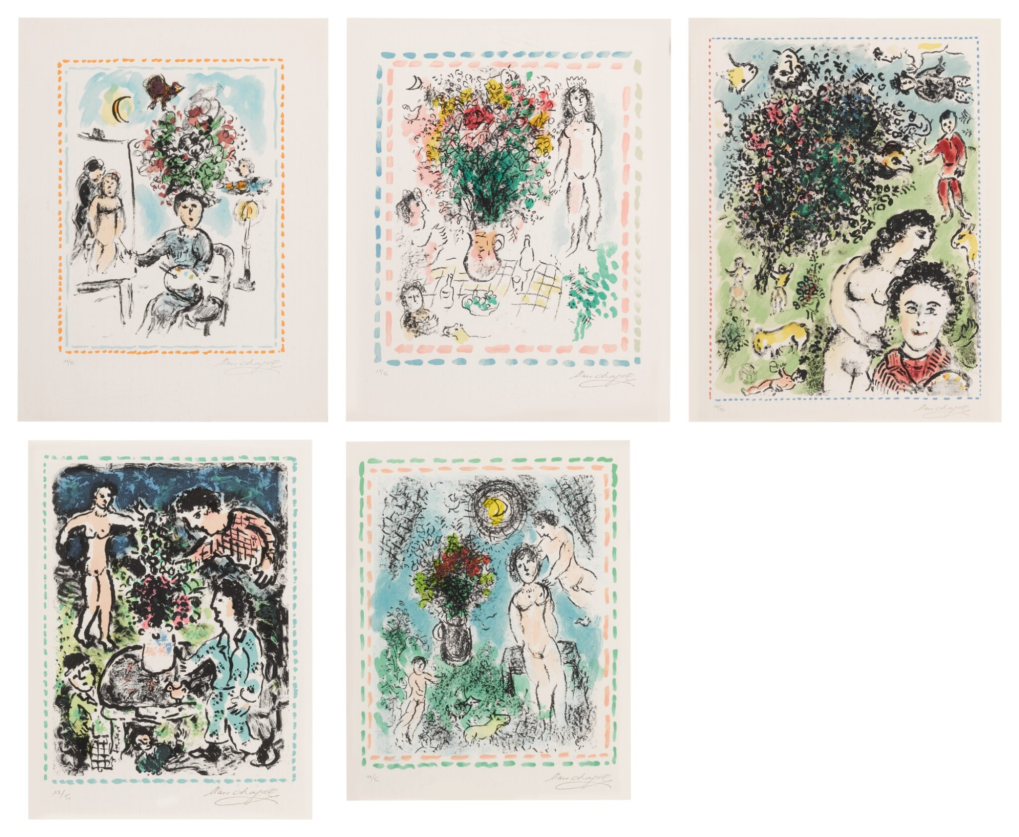 View 1 of Lot 32. Quinze Dernières Lithographies de Marc Chagall: 5 prints (M. 1035, 1036, 1038, 1042 and 1047).