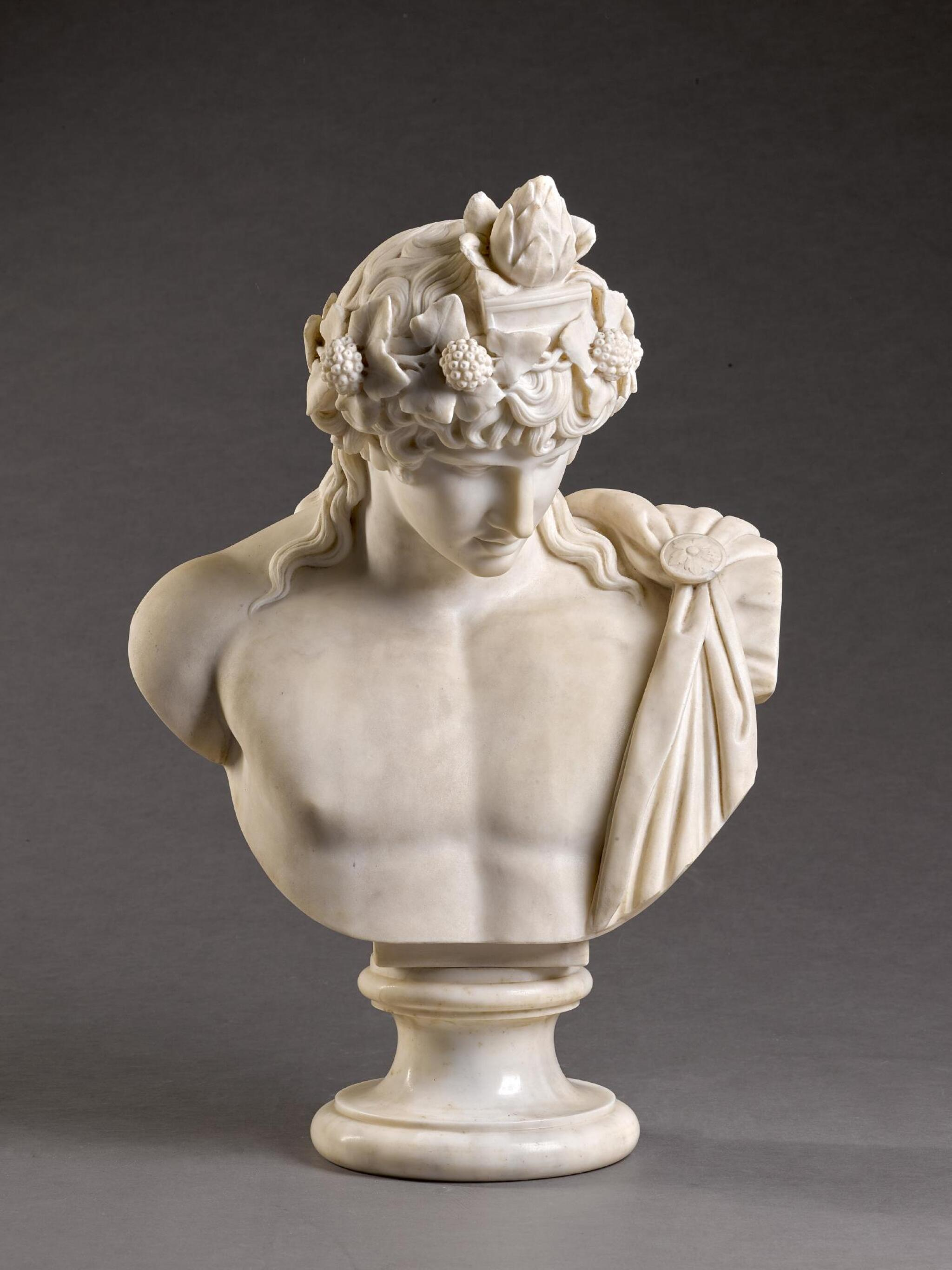 View 1 of Lot 4. ITALIAN, 19TH CENTURY, AFTER THE ANTIQUE | BUST OF ANTINOUS.