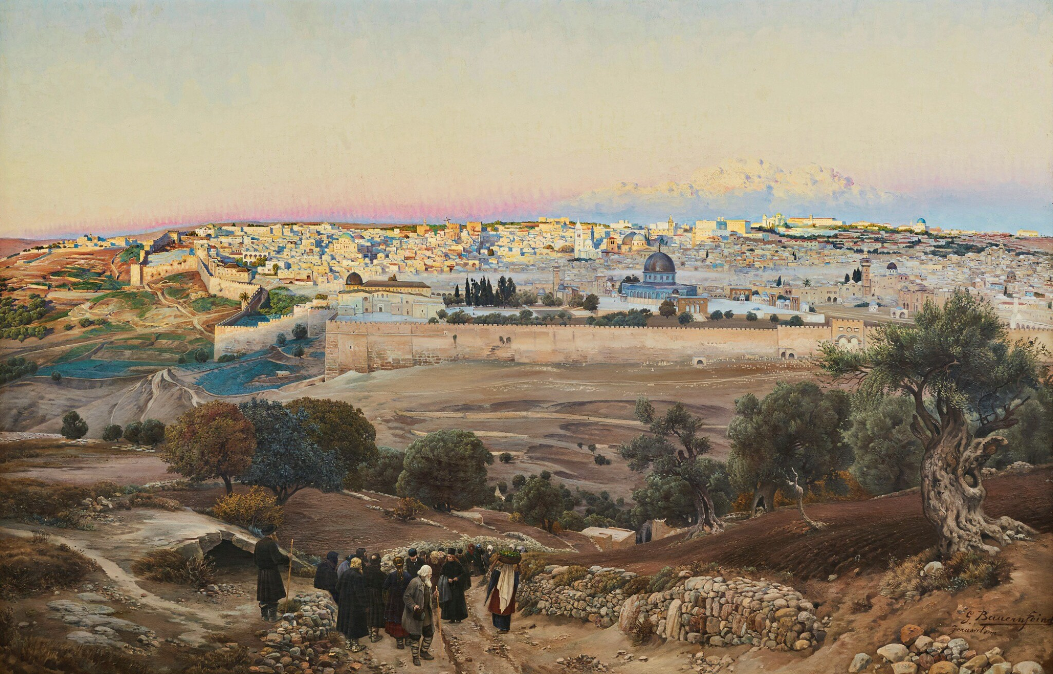 View full screen - View 1 of Lot 68. GUSTAV BAUERNFEIND  | JERUSALEM, FROM THE MOUNT OF OLIVES AT SUNRISE.