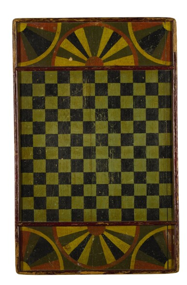 View 2. Thumbnail of Lot 1458. AMERICAN POLYCHROME PAINT-DECORATED WOODEN PARCHEESI GAMEBOARD, MID-19TH CENTURY.