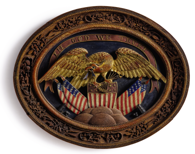 View 1. Thumbnail of Lot 1035. AN EXTREMELY RARE AND FINE CHINESE EXPORT CARVED WOOD 'EAGLE' PLAQUE FOR THE AMERICAN MARKET   QING DYNASTY, LATE 19TH CENTURY   清十九世紀末 木雕加彩描金美國國徽圖牌.