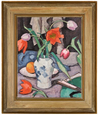 View 2. Thumbnail of Lot 30. SAMUEL JOHN PEPLOE, R.S.A.  |  STILL LIFE WITH TULIPS AND FAN.