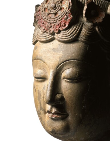 View 2. Thumbnail of Lot 18. An extremely rare large limestone head of a bodhisattva Sui dynasty | 隋 石灰岩加彩菩薩頭像.